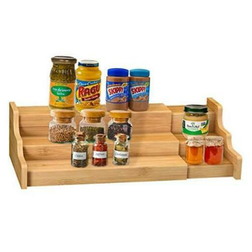 Spice Rack Kitchen Cabinet Organizer 3 Tier Bamboo Expandable Display Shelf