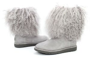 9bc8e32eb UGG LIDA CURLY MONGOLIAN SHEEPSKIN SUEDE SEAL GREY BOOT WITH THE FUR ...