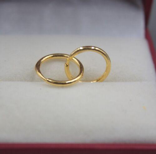 Real 24K Yellow Gold Earrings Woman/'s Smooth Simple Small Hoop Earrings 13mmDia