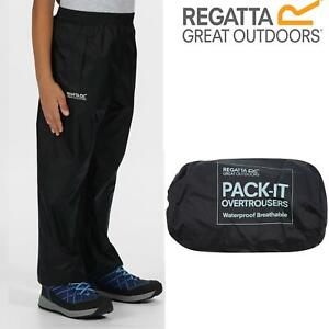 Regatta Kids Pack It Waterproof Packable Overtrousers Boys Girls Trousers