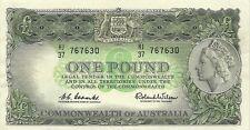 COMMONWEALTH OF AUSTRALIA 1 POUND 1961-65 P-34a SUPER CHOICE CRISP AU+ NOTE