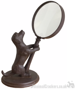 Bronze Effect Dog Holding Magnifying Glass Ornament Sculpture Dog Lover Gift Ebay