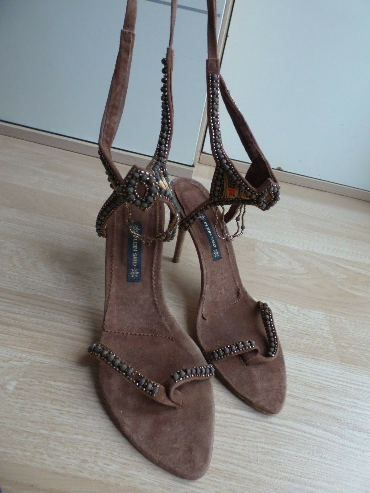 French Designer 37 Plein Sud Strappy Sandals  Eur 37 Designer Brown Suede Embellished efb005