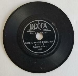 """1941 Andrew Sisters Boogie Woogie Bugle Boy 3"""" 78 rpm Decca PROMOTION RECORD"""