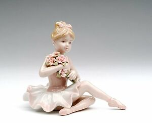 COLLECTIBLE-034-BALLERINA-IN-PINK-DRESS-034-PINK-GREEN-PORCELAIN-CERAMIC-FIGURINE-NAIS