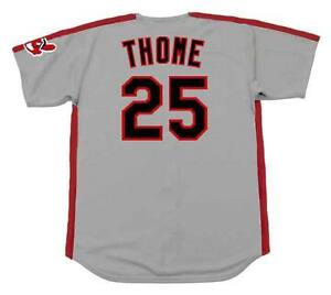 watch c7537 1e1f5 Details about JIM THOME Cleveland Indians 1993 Majestic Throwback Away  Baseball Jersey