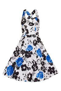 Bettie-Vintage-Retro-039-s-White-Black-Blue-Floral-Rockabilly-50s-Flared-Swing-Dress