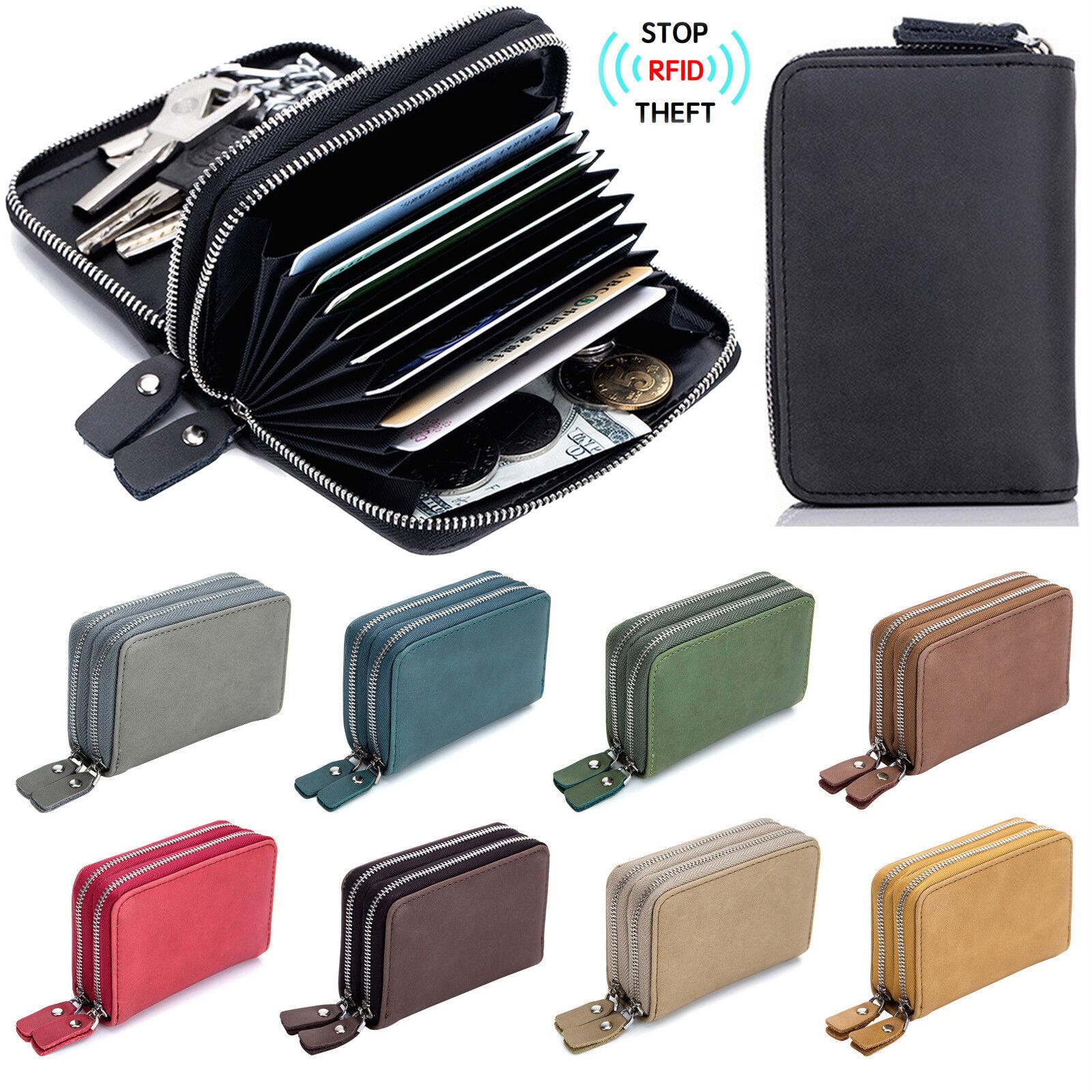 Men's RFID Block Leather Key Ring Secure Card Holder Zip Around Wallet