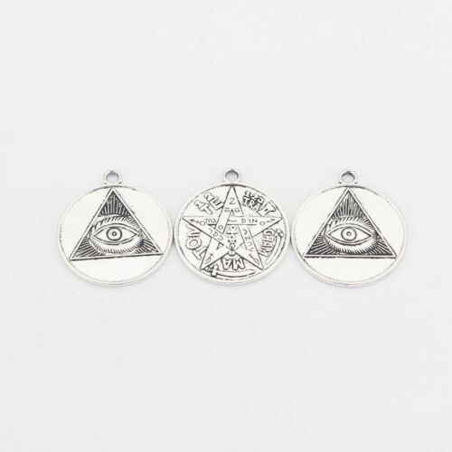 5Pcs Plata Antigua Tetragrammaton PENTAGRAMA Ojo Encantos Colgantes 2 lados 35mm