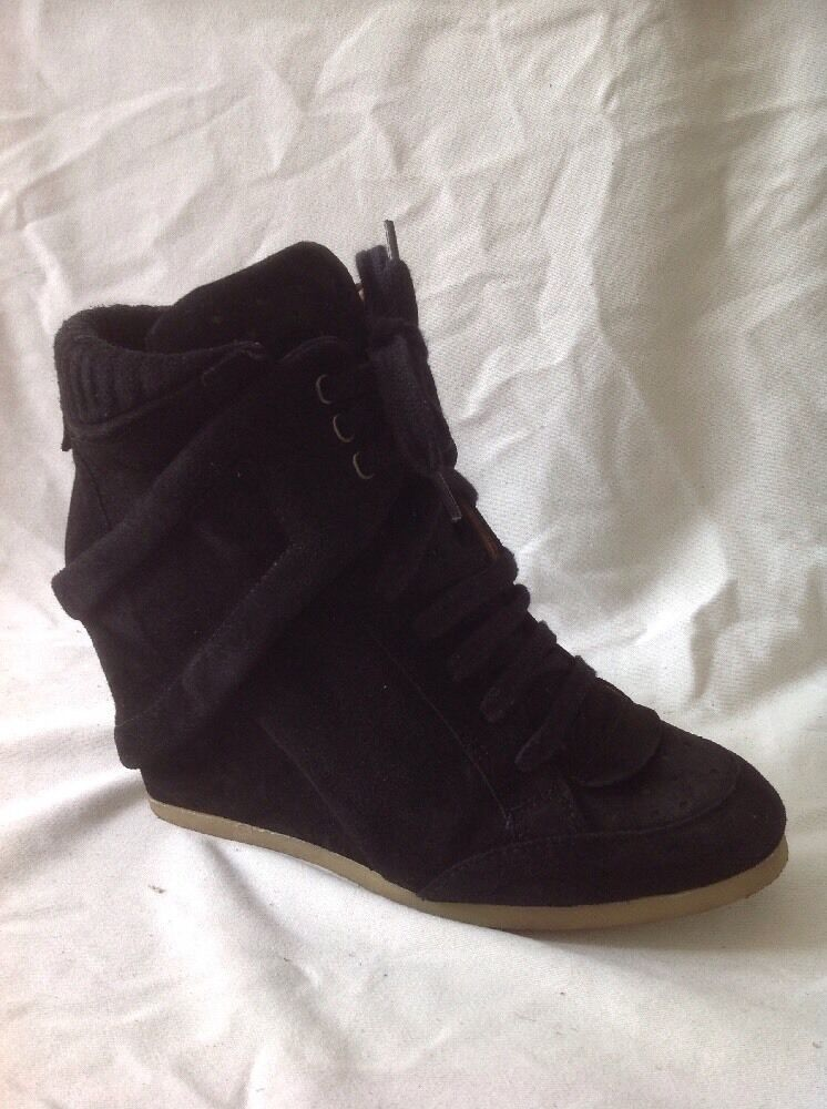 Zara Basic Black Ankle Suede Boots Size 40