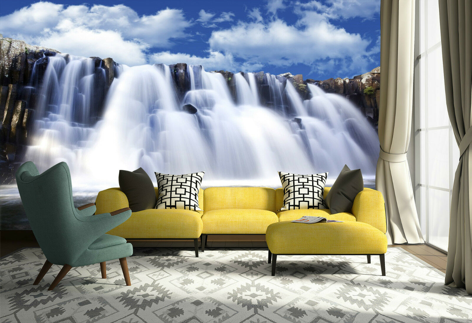 3D Torrent Cascade..Photo Papier Peint en Autocollant Murale Plafond Chambre Art
