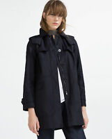 Zara Beautiful Hoooded Navy Double Breasted Trench Coat Size S (10 Au), Rrp $199