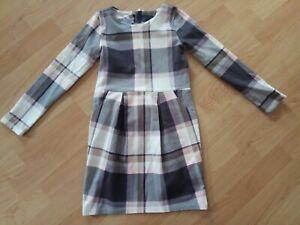 Kleid, langarm, grau rosa weiß kariert, H&M ...