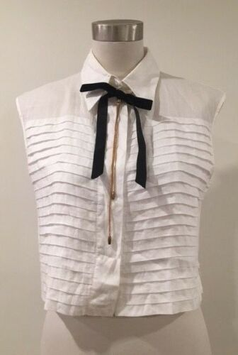 CHANEL off white ivory pleated cropped top blouse