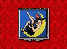 WITCH PIN UP GIRL MOON VINTAGE HALLOWEEN HAND MAKEUP POCKET COMPACT MIRROR