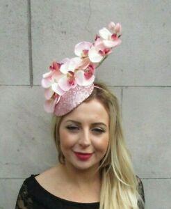 Blush Light Pink Orchid Flower Fascinator Sequin Races Hat Floral Wedding 7096