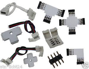 smd rgb led leiste strip 4 pol kupplung stecker connector verbinder adapter l t ebay. Black Bedroom Furniture Sets. Home Design Ideas