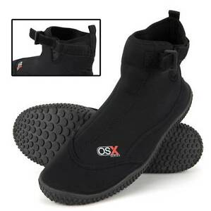 OSX Black Hook and Loop Wetsuit Aqua Surf Boots - Kids UK 9 to Adults 11