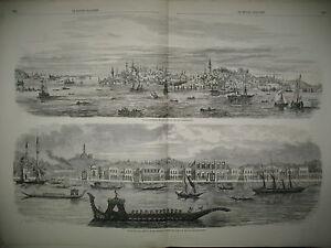TURQUIE-CONSTANTINOPLE-PALAIS-SULTAN-DOLMA-BAKTCHE-TERRE-NEUVE-PECHE-MORUE-1858