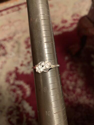 Sterling Silver Double Fleur Bague Taille 9