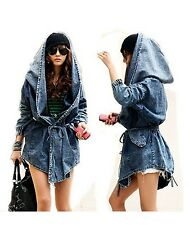US Blue Women's Lady Denim Trench Coat Hoodie Hooded Outerwear Jean Jacket