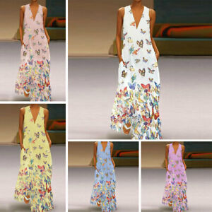 Plus-Size-Lady-Bohemia-Dress-Sleeveless-Butterfly-Print-Summer-V-Neck-Long-Dress