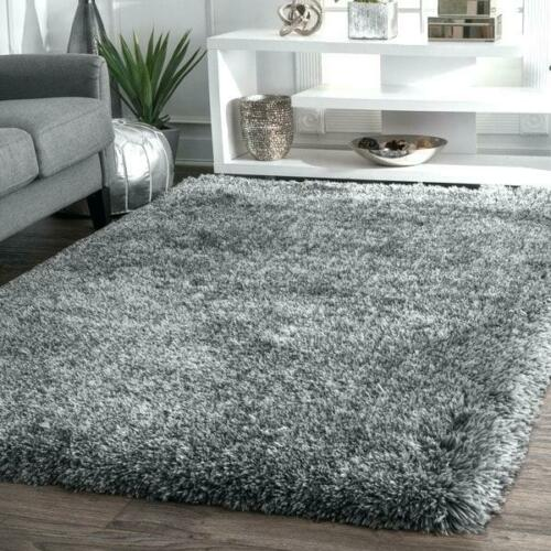 X Large Grey Shaggy Rug Soft Fluffy Plain Thick 5cm Floor