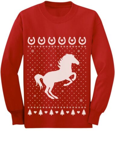 Ugly Christmas Sweater Love Horses Girl Toddler//Kids Long sleeve T-Shirt Rearing