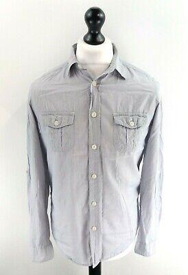 Camicia Da Uomo Ben Sherman S Small Blu Righe Bianche Cotone-mostra Il Titolo Originale Perfetto Nella Lavorazione