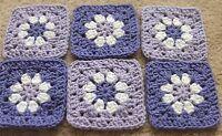 20 4 1/2lilac & Lavender Blue Daisy Flower Crochet Granny Squares Afghan Blocks