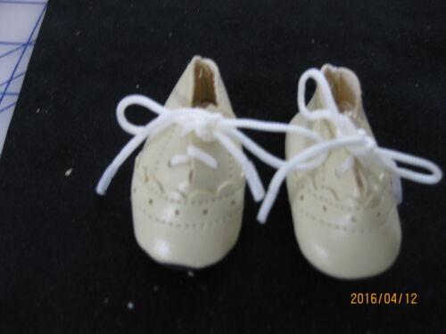 size 3 Tan Lace Up Shoe w Scalloped Trim Tallina Doll Shoe # M-5