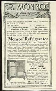 Refrigerators 1916 Monroe 1932 General Electric Lot Two Vintage Advertisements