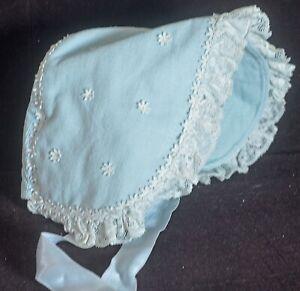 Vintage-accessoires Vintage Baby Bonnet Blau Cord Uu389 Mit Den Modernsten GeräTen Und Techniken