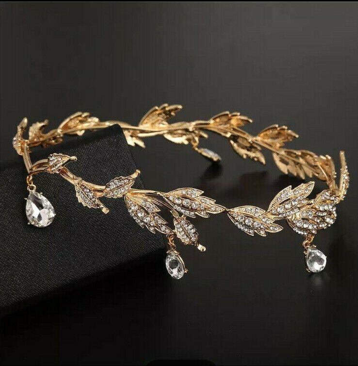 Bridal Tiara Rhinestone Crown Wedding Gold Headpiece Headband Lord of the Rings