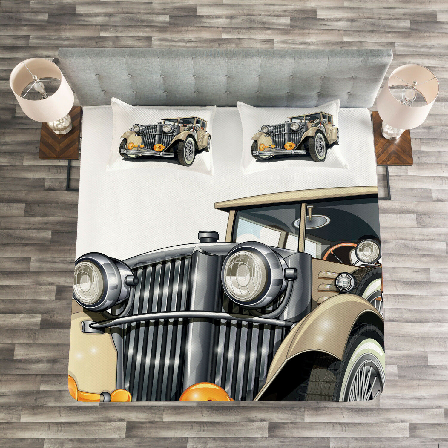 Cars Quilted Bedspread & Pillow Shams Set, Vintage Vehicle Hand Drawn Print