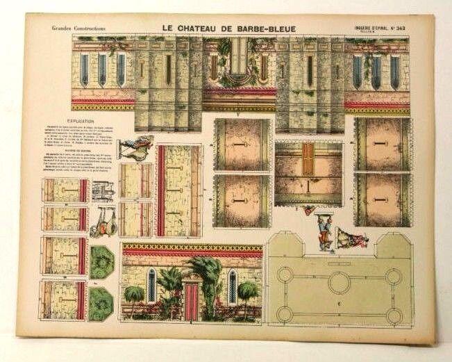 Imagerie d'epinal no 343 Le Chateau de Barbe-azule, grandes construcciones Modelo