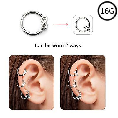 Ear Cartilage Hoop Surgical Steel Omni Bead Ring Daith Helix 2 Way Infinity 16G