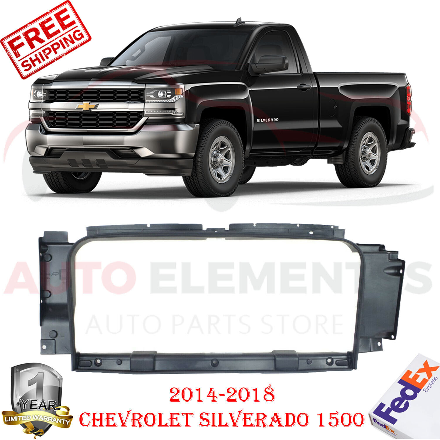 Radiator Support For 2014-2018 Chevrolet Silverado 1500 Black Plastic