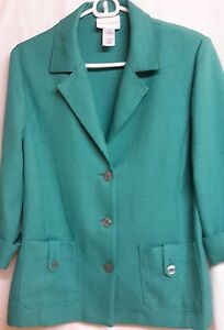Alfred-Dunner-Green-Jacket-Blazer-100-Polyester-Unlined-3-Buttons-Size-10