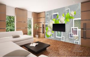 3D Green Leaf Flower 7 Wall Paper Murals Wall Print Wall Wallpaper Mural AU Kyra