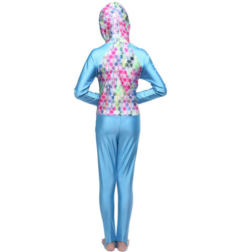 Kids Girls Muslim Full Cover Swimwear Islamic Modest One Piece Burkini Swimsuit