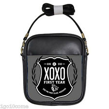 EXO XOXO First Year WOLF 88 Black Leather Sling Crossbody Bags Wallet Purse