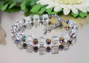 DESIGN-GLANZ-Armband-Kristall-GLAS-Wuerfel-Glas-Rondelle-bunt-Edelstahl