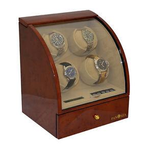 Quad-4-Watch-Winder-Brown-Wood-Storage-Display-Box-Case-Burlwood-by-Pangaea-Q400