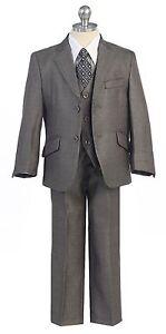 Silver Boys Toddler Kid Teen 5-PC Wedding Formal Party Suit Tuxedo Vest sz 2-20
