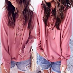 Fashion-Lady-Women-039-s-Long-Sleeve-Loose-Blouse-Casual-Shirt-Cotton-Tops-T-Shirt