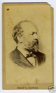 President /& Major General James Garfield COPY of photo /& autograph card