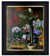 Framed, Renoir Arum and Conservatory Plants Repro Hand Painted Oil Paint 20x24in