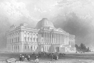 Washington-DC-UNITED-STATES-CAPITOL-BUILDING-HILL-Old-1839-Art-Print-Engraving
