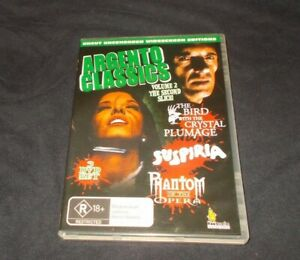 Argento-Classics-Volume-2-DVD-Reg-4-Suspiria-Phantom-of-the-opera-Bird-Plumage